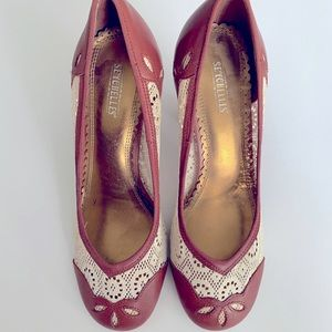 Seychelles Pinky Square Retro Pin Up Lace Heels